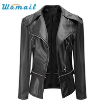 2017 leather jacket Women Korean Fashion Pu leather Coat Brand Big Size Shorts Faux Leather Jackets Autumn Winter