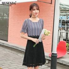 73560ae734a MUSENDA Plus Size Women Blue Print Black Lace Patchwork Tunic Dress 2018  Summer Sundress Female Ladies Sweet Casual Dresses 4XL