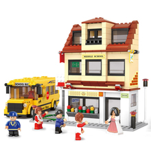 DIY Mini Building Nano blocks,children gifts,Educational toys,model,0333,Middle students school bus,city series,Sluban Blocks(China)