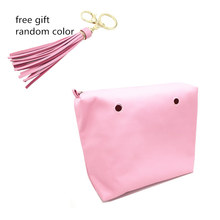 1 pcs inner bag lining classic size a free gift for you pink color inner bag and handle set 2017(China)