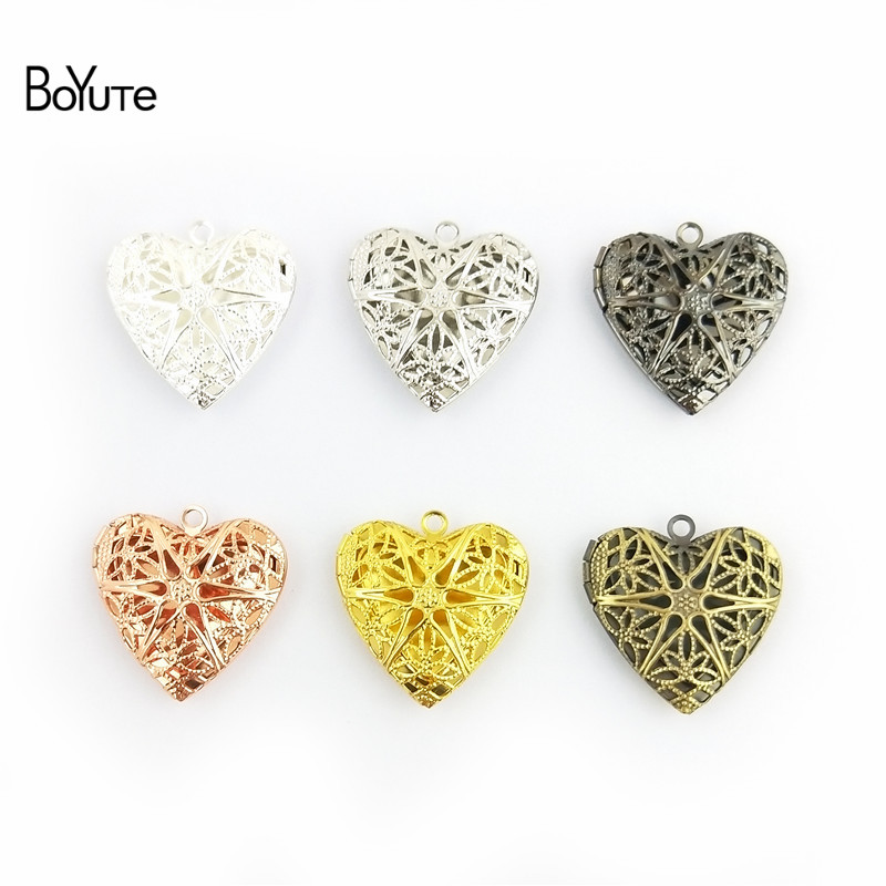 BoYuTe (10 PiecesLot) 6 Colors Plated Round Oval Heart Filigree Locket Pendant Can Open to insert Photo Locket Pendant (4)