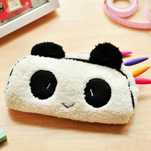 Korean Cute 3D Plush Panda Pencil Case Kawaii Noverty Cheap Big Large Capacity Multifunction Pen Bags for Kids School Stationery(China)