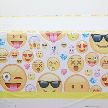 1PC Funny Emoji Printed Plastic Tableclothes For Kids Happy Birthday Event Party Plastic Tablecover&Map Supplies Disposable