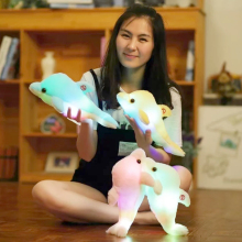 1pc 32cm Creative Luminous Plush Dolphin Doll Glowing LED Light Plush Animal Toys Colorful Doll Pillows Kids Children's Gift(China)