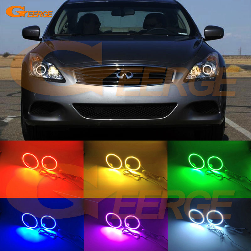 For INFINITI G37 COUPE Q60 Xenon Headlight 08 09 10 11 12 13 14 15 Excellent Multi-Color Ultra bright RGB LED Angel Eyes kit<br>