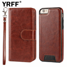 Genuine Leather case for iphone 6 6s plus 5 5s Detachable 2-in-1 Split wallet flip cover For iphone 6s 6 5 plus Card Slot Holder