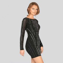 wholesale 2017 New Dress Black long sleeve Beading High-end luxury Elastic tight celebrity Cocktail party bandage dress (L1650)(China)