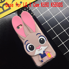 3D Cute Pink Rabbit Case for LG X Cam K580 K580DS Soft Silicone TPU Cartoon Back Cover Cases Fundas Coque Capa Protect Shell Bag(China)