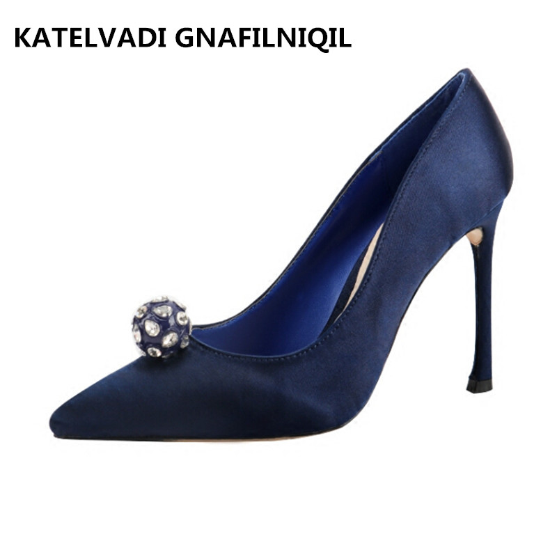 Fashion Shoes Woman High Heels Blue Sexy Party Dress Shoes Women Crystal Wedding Shoes With Heels Pumps Zapatos Mujer FS-0146<br>