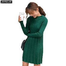 2017 New Spring Autumn Women Long Sweater Solid Flare Knitted Dress Long Sleeve O-Neck One Piece Fashion Winter Base Sweaters(China)