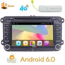 4G Dongle + Car Stereo Bluetooth GPS DVD Double Din In Dash Sat Navigation Vehicle Head Unit for VW Volkswagen Jetta Golf Passat(China)