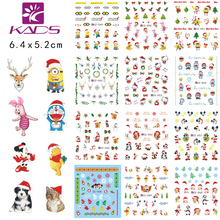 KADS LARGE CZ49-60 one set (12 sheet) Christmas Water decal Nail Stickers Christmas Cartoon design nail sticker accessories(China)