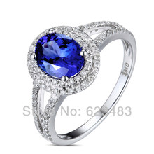 SOLID 14K WHITE GOLD NATURAL  TANZANITE . ENGAGEMENT RING