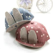 Fashion Baby Beanie For Boys Girls Long Rabbit Ears Children Dots Hats Cotton Blend Baby Baseball cap Sunhat Dropshipping(China)