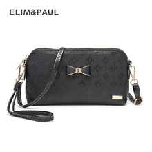 ELIM&PAUL Brand Women Leather Messenger Bag Famous Brand Women Shoulder Bag Envelope Knot Women Clutch Bag Small Crossbody bag