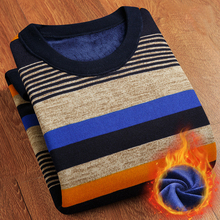 T-bird Mens Sweater Brand Velvet Pullover Men Stripe Knitting Sweater Male Casual Simplicity Winter Keep Warm Christmas Sweater(China)