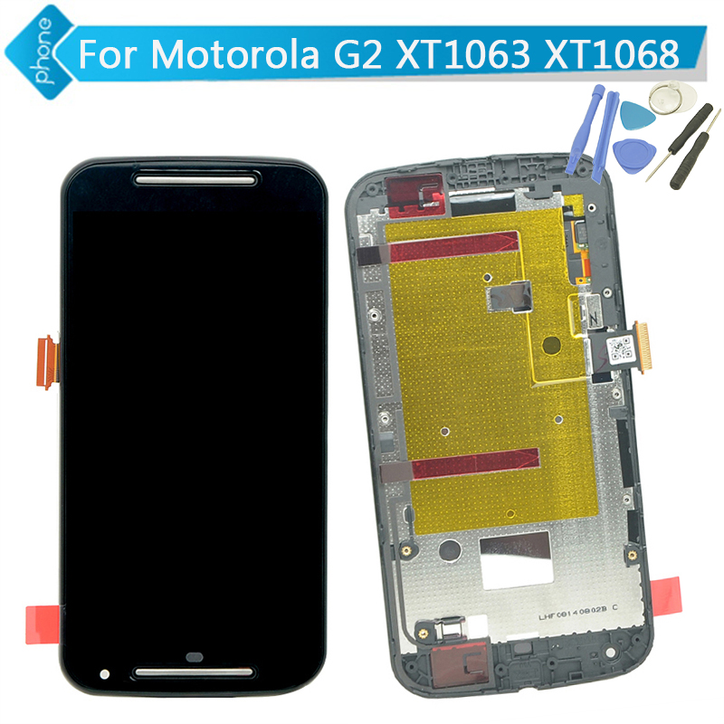 For Motorola for MOTO G2 G+1 XT1063 XT1068 LCD Display Touch Digitizer Assembly with Frame +Tools<br><br>Aliexpress