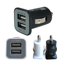 100% Brand New 12V/24V Micro Auto Car Universal 2 Port USB Car Charger Adapter/Cigar Socket For iPhone iPad iPod 3.1A