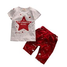 Summer Children's Set Fashion Star Print Short Sleeve Top + Solid Cotton Dot Pants Outfits Clothes Sets