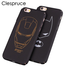 Clespruce black hard PC Ultra-thin Matte batman Phone Case Cover For Apple iPhone 8 8plus 7 6 6S plus 5 5S SE iron Maniron Man(China)
