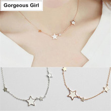 925 Sterling Silver Jewelry Best Wishes Stars Choker Necklace