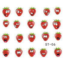 1X DIY Red Strawberry Lovely Expression Decals Nail Art Water Transfer Sticker Polish Beauty Wraps Full Tips Nail Tools ST-06(China)