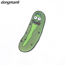 P1401 Dongmanli 2017 Newest high quality Rick and Morty Pin Pickle pins Brooches badges for Clothing Enamel Pin badges(China)