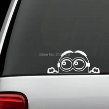 Minion Despicable Me Peeking decal sticker for car truck suv van xbox ps4 die cut vinyl decal / sticker 8'' White