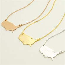 10pcs Outline Map Necklace Jewelry USA Map Pendant Gold/Silver United States Personalized State Charm Map Necklace Jewelry(China)