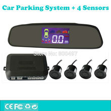 Car Parking Assistance System with 4 Parking Sensors Rearview Mirror LCD Display Backup Reverse Radar Alarm Kit