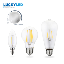 LUCKY Led Bulb E27 E14 220V Dimmable 2W 4W 6W 8W Led Candle Light Filament Retro Edison Bulb Lamp Vintage Style C35 A60 ST64