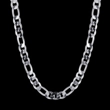"silver plated 10mm 20"" 50cm Men Figaro chain necklace for men silver 925 jewelry large necklace Colar de Prata male gift(China)"