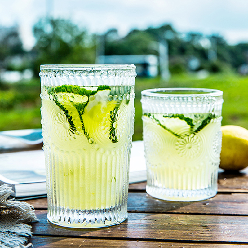 Antique Class Cups Clear Color Fancy Embossed Glass Cups Sunflower Pattern Juice Wine Milk Cup Glassware Drinkware Gift (8)