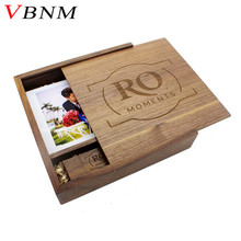 VBNM (1PCS free LOGO) Photography Wooden Photo Album usb+Box usb flash drive U disk Pendrive 8GB 16GB 32GB 64GB Wedding video(China)