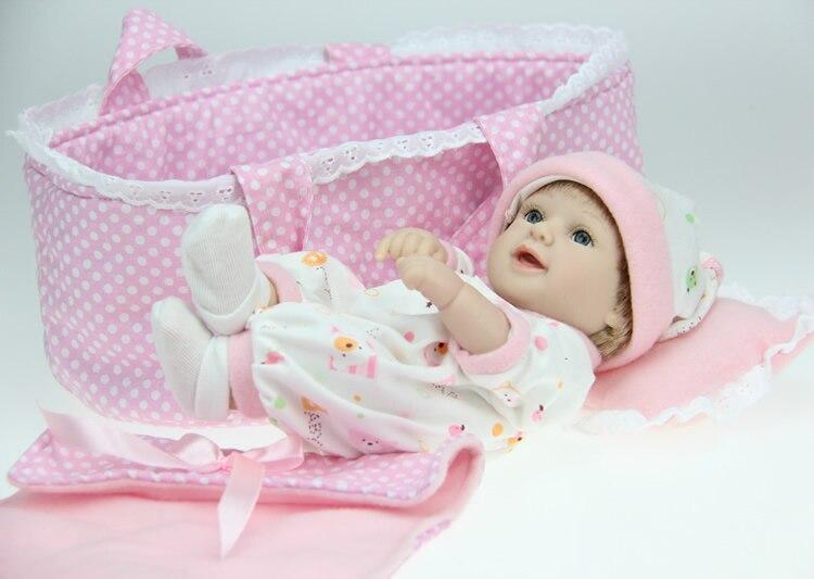 12 28CM Smiling newborn baby doll soft silicone vinyl reborn baby doll lifelike baby alive handmade doll<br>