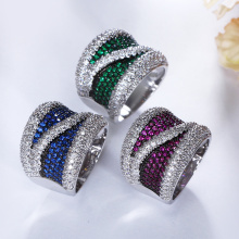 Elegant Jewelry New Free shipping Vogue Fashion Party Colors Crystal Zircon Jewelry Costume jewellery Blue Green Purple Rings(Hong Kong,China)