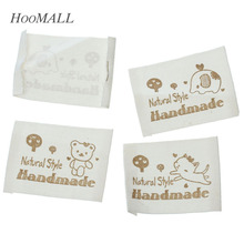 Hoomall Brand 100PCs White Handmade Cotton Woven Labels Brand Washable Clothing Labels Garment Tags Labels Mixed Pattern(China)