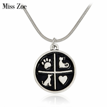 Miss Zoe Cat Kitty Dog Paw Claw Heart Pendant Necklace Round Black Suspend Pet Simple Jewelry Special Gift Adopt Dog Lovers
