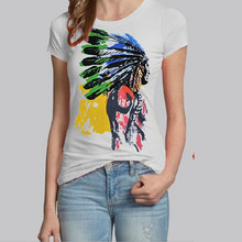 2015 New Fashion Brand Indian Head Print T Shirt Women Short Sleeve O-neck Cotton T-Shirt Camisas Mujer T-Shirts Femme(China)