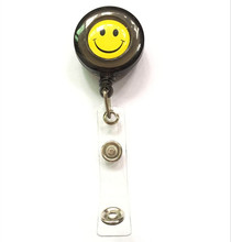 1pcs Black Color Smile Face Retractable Reel With Anti-Lost Clip Security Nurse ID Name Card Badge Holder Reels(China)
