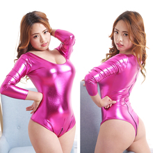 PU Leather Bodysuit Women Thong Swimwear Erotic Shiny Faux Leather Teddy Lingerie PVC Wet Look Club Wear Catsuit Playsuit