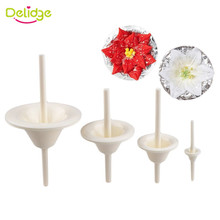 Delidge 4Pcs/Set Plastic Lily Flower Nail Receptacle Removable Frosted Piping Mould Kitchen Pastry Tool Fondant Cake Decorating(China)