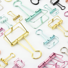 3 Size 8 Colors Korean Stationery Hollow Out Binder Clips Paper Clips Notes Letter Notebook Clips DIY Bookmark material escolar(China)