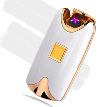 Intelligent USB Dual Fire Arc Lighter Fingerprint Induction Charging Metal Wind Proof Lighter for Smoker Cigarettes Gift