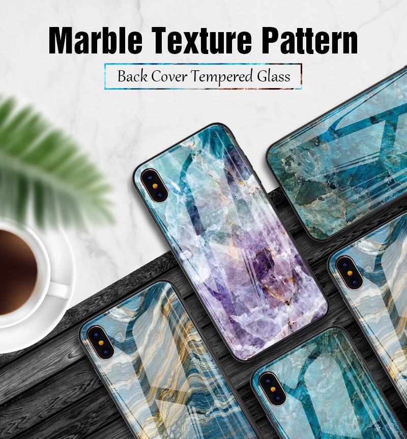 TOMKAS Luxury Marble Phone Case for iPhone X 10 Tempered Glass PC Agate Back Cover Silicone Soft Edge Coque Case for iPhone X (1)