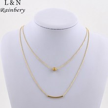Rainbery Double Layer Curve Jewelry Tube Necklace Celebrity Inspired Jewelry Simple Bar Necklace Dainty Jewelry Gift For Women(China)