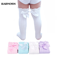 Baby Girls Knee High Socks Kids Children Cute Lace Bows Princess leg Warmers Solid Cotton Girl Long Tube White Socks 1-6years