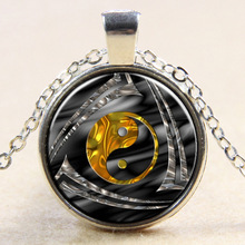 5pcs Golden Yin Yang Necklace, Tai Chi Necklace, Glass Cabochon Necklace, Art Pendant Necklace, Gift For Friend Or Relative