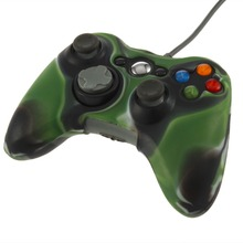 New Camouflage Silicone Skin Case Shell Grip Protective Soft Cover for XBOX 360 Game Wireless Controllers Army Green