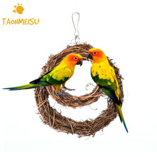 10/15cm Natural Rattan Pet Toy Swing Ring Bird Parrot Hanging Parakeet Budgie Cockatiel Cage Enclosed Hook Hanger